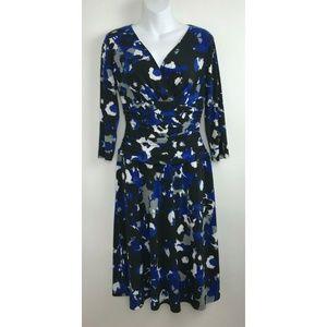 NINE WEST Blue Black Abstract Geometric Dress Sz 6